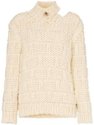 Calvin Klein high neck cutout mohair wool blend jumper