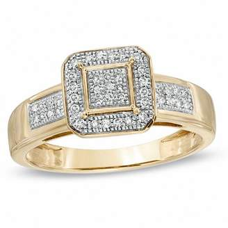 Zales 1/6 CT. T.W. Diamond Cluster Octagonal Frame Engagement Ring in 10K Gold