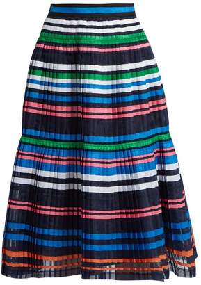 Muveil Ribbon Striped Pleated Organza Skirt - Womens - Navy Multi