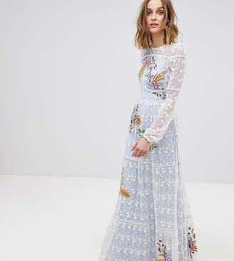 Frock and Frill Frock And Frill Allover Embroidered Folk Maxi Dress