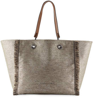 Brunello Cucinelli Large Shiny Canvas Reversible Shopper Tote Bag