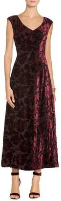 St. John Velvet Floral Burnout V-Neck Cap Sleeve Dress