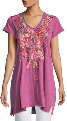 Johnny Was Adeline Short-Sleeve Draped Long V-Neck Tunic, Plus Size