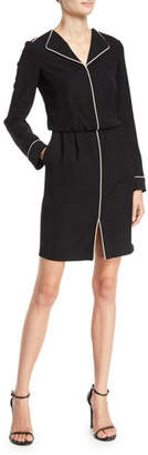 Emporio Armani Long-Sleeve Woven Dress w/ Contrast Piping
