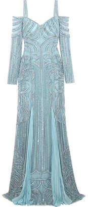 Zuhair Murad - Cold-shoulder Embellished Silk-bend Lace Gown - Blue