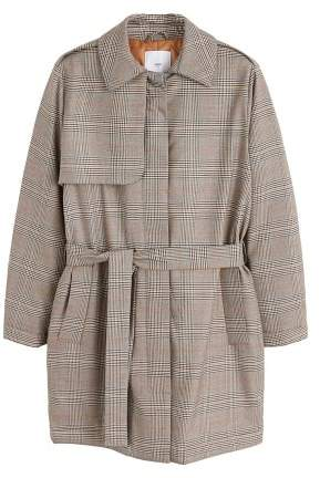 Checkered quilted trench
