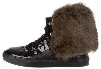 MCM Fur-Trim High-Top Sneakers