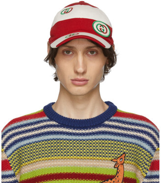Gucci Red and Off-White GG Cap