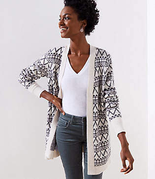 LOFT Fairisle Open Cardigan