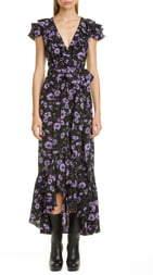 Michael Kors Collection Floral Print Ruffle Wrap Dress