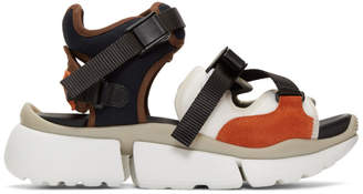 Chloé Brown and White Sonnie Sneaker Sandals