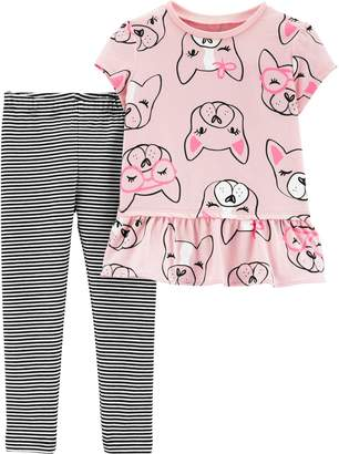 5fdb6a7a5 Carter's Baby Girl Dog Peplum-Hem Top & Striped Leggings Set