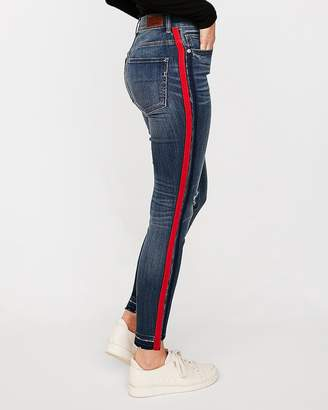 Express Petite High Waisted Striped Ankle Jean Leggings