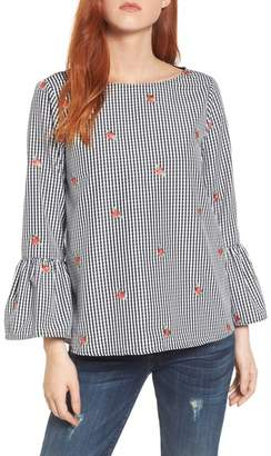 Gibson Gingham Bell Sleeve Top