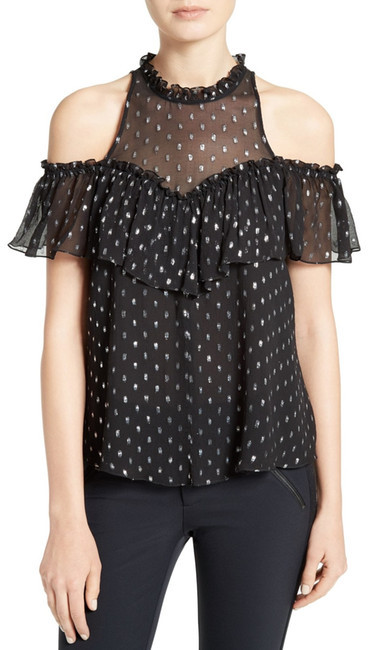 Rebecca Taylor Rebecca Taylor Open Shoulder Metallic Clipped Jacquard Top