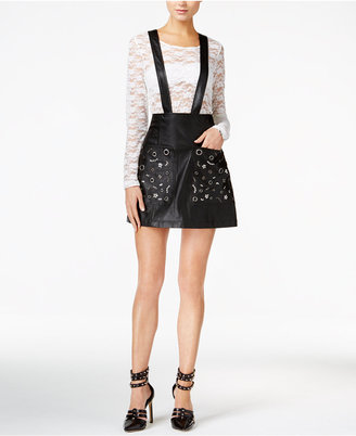 GUESS Rona Faux-Leather Suspender Skirt $98 thestylecure.com