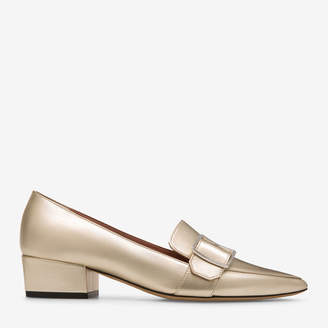 Bally Harumi Metallic, Women's metallic lamb leather pump with 35mm heel in champagne