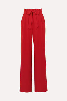 Alice + Olivia Alice Olivia - Farrel Belted Crepe Wide-leg Pants - Red