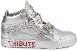 Giuseppe Zanotti Michael Jackson Tribute Embellished Leather Mid-Top Sneakers