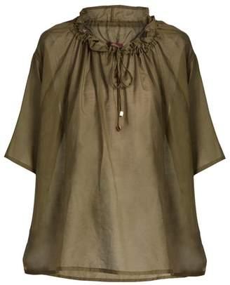 Albus Lumen - Lola Gathered Neck Silk Shirt - Womens - Khaki