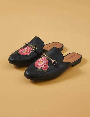 Lane Bryant Floral Embroidered Faux Leather Mule