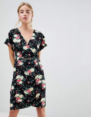 QED London Floral Print Kimono Sleeve Dress With Wrap Front