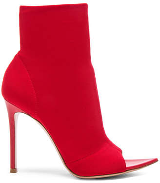 Gianvito Rossi Osaka & Leather Gotham Peep Toe Ankle Boots