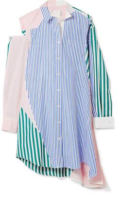Sacai Cutout Patchwork Striped Cotton-poplin Shirt Dress - Blue