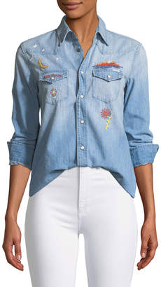 Mother All My Exes Button-Down Denim Shirt