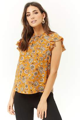 Forever 21 Floral Chiffon Cap-Sleeve Top