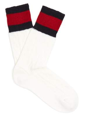 Gucci Web-striped cable-knit wool-blend socks