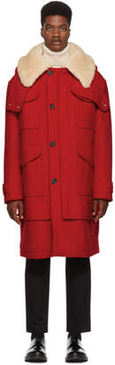 Alexander McQueen Red Wool Duffle Coat