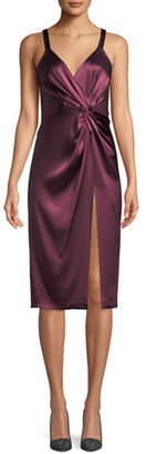 Jill Stuart Neve Side-Twist Satin Cocktail Dress