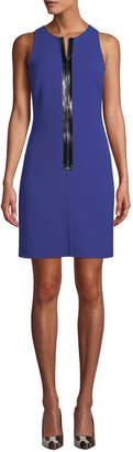 Michael Kors Patent Zip-Front Sleeveless Scuba Shift Dress