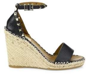 Rockstud Leather Espadrille Double Wedge Sandals