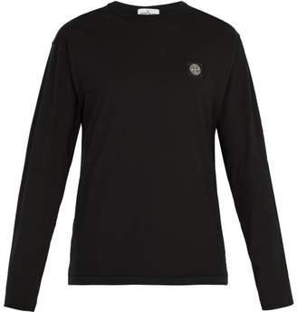 Stone Island Logo Patch Long Sleeved Cotton Jersey T Shirt - Mens - Black