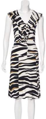 Valentino Printed Ruffle Dress