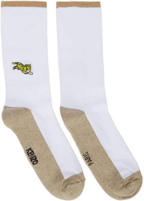 Kenzo White Jumping Tiger Socks
