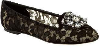 Dolce & Gabbana Embellished Lace Vally Flats