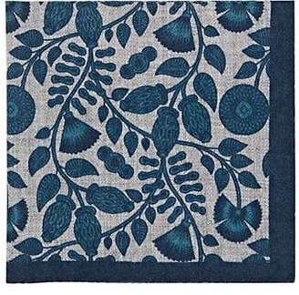 Barneys New York Men's Leaf-Print Wool Pocket Square - Turquoise