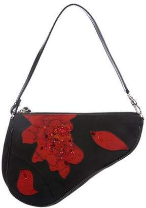 Christian Dior Embellished Rose Saddle Bag