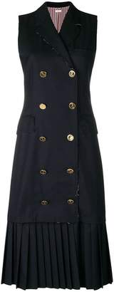 Thom Browne Pleated Wool Chesterfield Dress