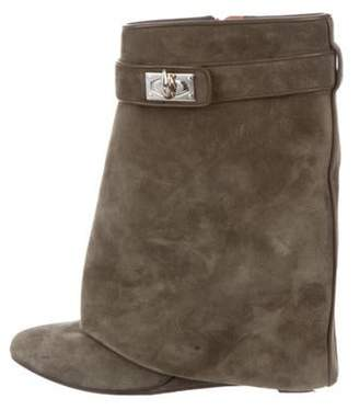Givenchy Suede Wedge Ankle Boots green Suede Wedge Ankle Boots