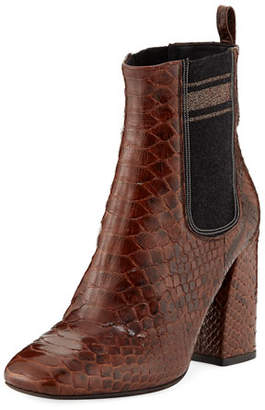 Brunello Cucinelli 100mm Python Chelsea Booties