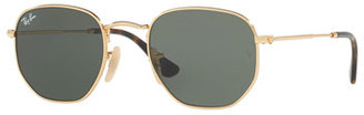 Ray-Ban Monochromatic Hexagonal Sunglasses, Green/Gold $150 thestylecure.com