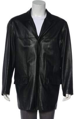 Barneys New York Barney's New York Leather Button-Up Overcoat