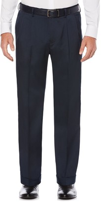 Savane Men's Straight-Fit Stretch Crosshatch Pleated Dress Pants