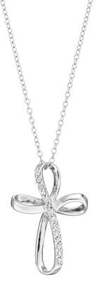 Sterling Silver 1/10 Carat T.W. Diamond Ribbon Cross Pendant Necklace