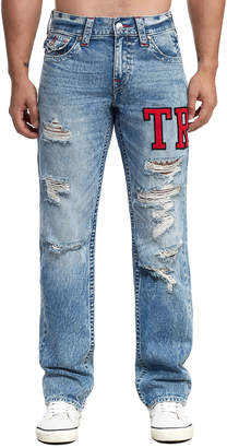 True Religion MENS VARSITY EMBROIDERY RICKY STRAIGHT JEAN W/ FLAP