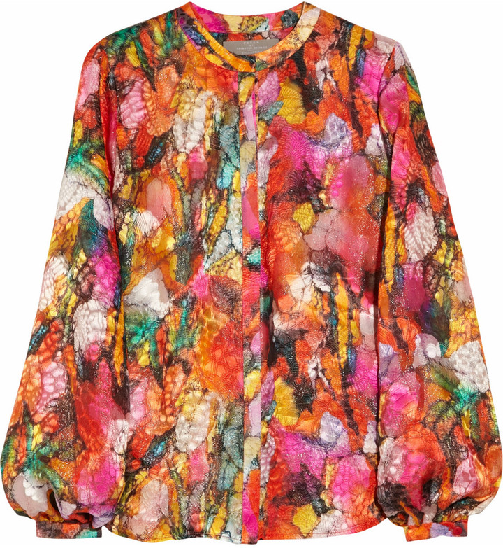 Preen Sunset printed devoré blouse